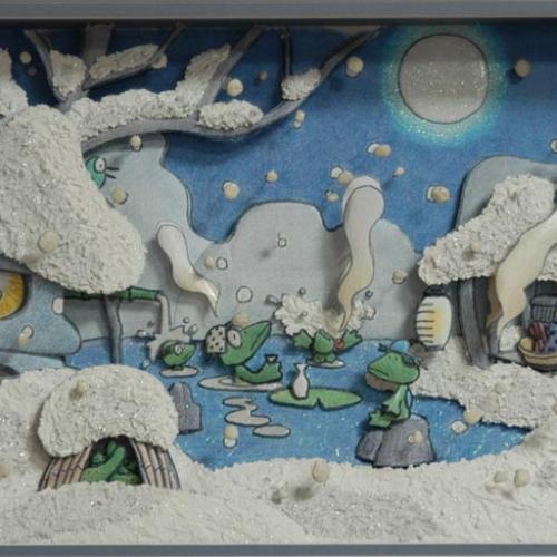 降る雪や のの字のの字の 湯のけむり