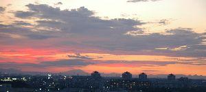 2007年8月16日の夕焼け・気温は40度近くありました