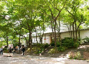 新緑に囲まれた京王プラザホテルエントランス
