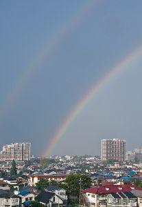 2013.7.8  pm5:15 ゲリラ豪雨の後に出たダブルレインボウ