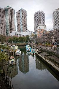 佃橋から見た高層ビルと小さな漁船